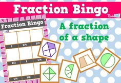 Fraction Bingo - quarters half and whole