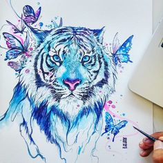 Aquarelle zeigen Tiere von ihrer gefühlvollen Seite Der indonesische Künstler… Watercolors show animals of their soulful side The Indonesian artist Reza has taught himself drawing and painting. Away from artistic norms, the view is clear for the Ungewöh … Watercolor Tiger, Watercolor Animals, Watercolor Paintings, Watercolor Portraits, Watercolor Ideas, Lion Painting, Tattoo Watercolor, Pencil Drawings Of Animals, Art Drawings