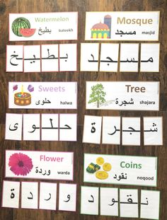 This word mat brings enthusiasm to the child along with leaning! This is a full page printed on card stock which contains 6 Arabic words. Arabic Alphabet Letters, Arabic Alphabet For Kids, Persian Alphabet, Alphabet Print, Learning Arabic, Kids Learning, Arabic Phrases, Arabic Lessons, Baby Sign Language
