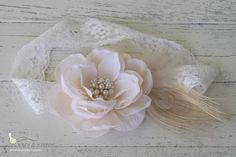 Cream Flower Peacock Lace Headband - Vintage Style - Girls Infant Baby Child Adult