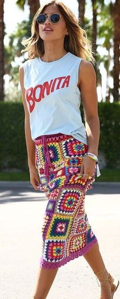 White Tank + Carnaby Crochet Skirt                                                                             Source