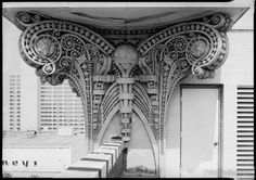 Detail of pilaster capital or the St. James Building, 117 West Duval Street, Jacksonville, Duval County, Florida. Photographed on 5x7 inch B&W film.åÊ On the order of Louis Sullivan'a Carson, Pirie, S