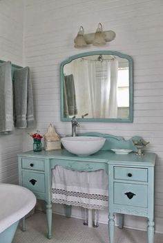 Aqua country cottage bathroom, furniture vanity. The Vintage House: Make The…