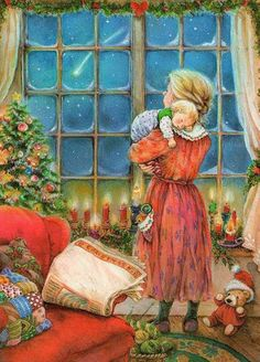 Mesothelima: 111 Happy Merry Christmas 2019 Wishes and Images Illustration Noel, Christmas Illustration, Christmas Scenes, Noel Christmas, Xmas, Christmas 2019, Christmas Night, Christmas Wishes, Vintage Christmas Images