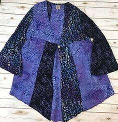 Acadia World Traders Purple Blue Batik Cardigan Duster Bell Sleeve Artsy Boho OS  | eBay
