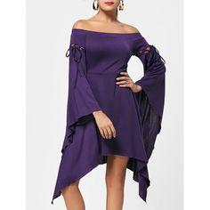 Flare Sleeve Off Shoulder Asymmetric Dress