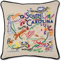 South Carolina embroidered pillow