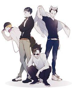 Tsukishima, Akaashi, Bokuto and Kuroo