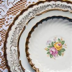 vintage plates, antique plates for rent Antique Plates, Vintage Plates, Vintage China, Dining Ware, Small Desserts, Wedding Plates, On October 3rd, Salad Plates, Dinner Plates