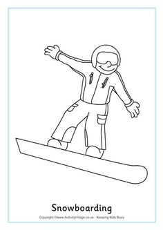 Snowboarding Colouring Page 2. Winter Olympics printables.
