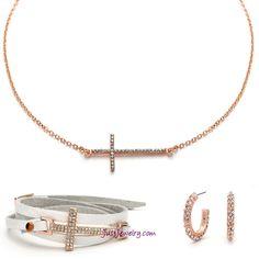 Love Everlasting Set S-011025 $60 #justjewelry #fashionjewelry #necklaces #earrings  #rosegold #cross #faith #wrapbracelet #bracelets