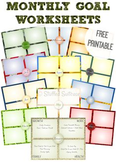 Use these 12 monthly goal setting worksheet printables to help you create resolutions that will last beyond just the new year, last for the whole year. StuffedSuitcase.com