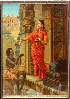 Mandodari, Ravana's wife, gives alms to a mendicant, from the Hindu epic, the Ramayana.