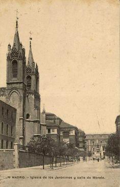 Iglesia de los Jerónimos y calle de Moreto, anterior a 1910. J. Lacoste.