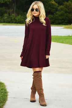 Share to save 10% on  your order instantly!  Enjoy The Little Things Dress: Burgundy/Black
