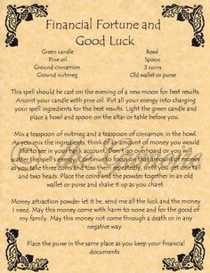 Book of Shadows Page - Financial Fortune and Good Luck - Money Spell - Wicca by Chri Ssy HldBh
