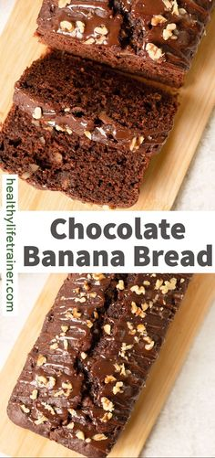 A soft and fudgy Chocolate Banana Bread loaded with ripe bananas and chocolate chunks. Topped with melted chocolate and a sprinkle of chopped walnut. It is perfect for breakfast, a treat or a snack. This is the only chocolate banana bread recipe you will ever need. #Chocolatebananabread #bananabreadrecipe #breakfastrecipe