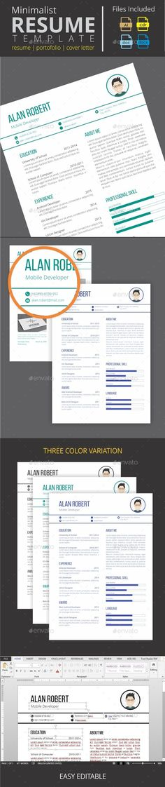Minimalist Clean Resume by dream_space Description This Minimalist Resume CV belongs MS Word, AI, CDR versions. This template is 100 customizable and ready to print. A