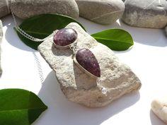 Collier pierres gemmes zen lépidolite support accessoires argent plaqué boule breloque argent mat : Collier par lapassiondisabelle
