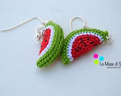 Crochet Fruit, Crochet Food, Crochet Designs, Crochet Patterns, Crochet Earrings Pattern, Red Jewelry, Crochet Accessories, Muse, Earrings Handmade