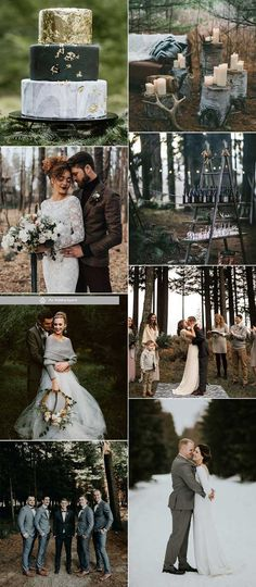 Moody Gray wedding Getting married in the woodland venue during winter is a decent choice either. Gray goes well with moody forest and some white or blush tints will add in the cozy and amusing atmosphere. Woodland Theme Wedding, Forest Wedding, Dream Wedding, Gray Weddings, Winter Weddings, Vintage Weddings, Redwood Wedding, Viking Wedding, Sage Green Wedding