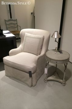 BethesdaStyle Linen Chair Side Table At Washington DC Design Center