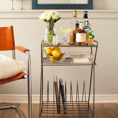 Record Rack to Bar Cart. Turn a vinyl record rack into a classy and chic bar cart! A great small-space solution for fancy adults in small spaces #diy #rooms Diy Home Bar, Bars For Home, Gold Bar Cart, Clever, Easy, Furniture, Home Decor, Homemade Home Decor, Home Furniture