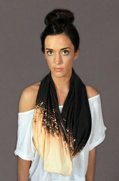 Bleached Scarf - Black Galaxy Scarf - Black Dyed Infinity Scarf. $32.00, via Etsy.