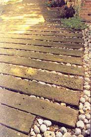 Traverse de bois naturel chemin de fer pour le jardin keystone jardin pinterest - Traverses de chemin de fer pour jardin ...