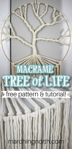 Learn how to make this simple macrame tree of life wall hanging with this step by step written and video tutorial! Perfect for beginners and beyond   macrame for beginners   free macrame patterns   macrame wall hanging diy   easy macrame wall hanging diy   macrame tutorials   easy macrame projects   tree of life wall hanging diy Macrame Plant Hanger Patterns, Free Macrame Patterns, Macrame Wall Hanging Patterns, Crochet Wall Hangings, Yarn Wall Hanging, Hanging Shelves, Macrame Owl, Macrame Knots, Diy Dream Catcher Tutorial