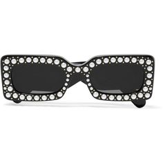 embellished square-frame acetate sunglasses ($885) ❤ liked on Polyvore featuring accessories, eyewear, sunglasses, acetate sunglasses, square frame glasses, square frame sunglasses, rectangular glasses and embellished sunglasses
