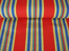 Retro Deckchair Striped Fabric - Red Yellow Blue Stripes - Vintage Archive Deck Chair Canvas: Samba
