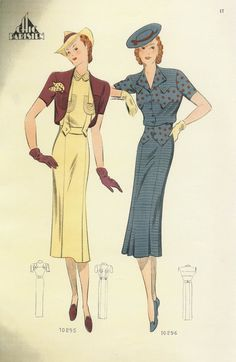 What Did Women Wear in the - Part 1 1930s Fashion, Retro Fashion, Fashion Art, Vintage Fashion, Fashion Design, Vintage Outfits, Vintage Dresses, Vintage Clothing, Fashion Illustration Vintage