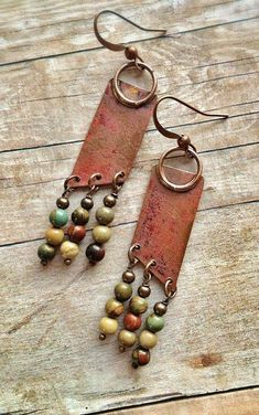 Geometric Boho Copper Earrings with Natural Stone Dangles #JewelryDesign #FashionJewelrytips #JewelryTips