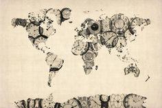 Map of the World Map from Old Clocks Reproduction transférée sur toile par Michael Tompsett sur AllPosters.fr