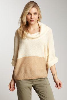 Splendid Colorblock Cowl Neck Sweater