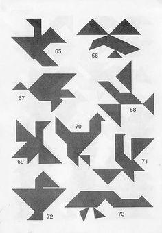 Siluetas de pájaros Tangram con soluciones