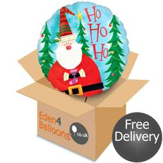 Santa Claus Balloon in a Box Gifts Delivered, Flowers Delivered, Balloons, Bouquet, Santa, Christmas Ornaments, Holiday Decor, Box, Floral
