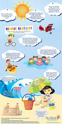 Summer Safety Tips for the Kids  -  Sooo, we shouldn't have to worry about rip tides and jellyfish in our neck of the woods, but everything else mentioned is a good reminder :)