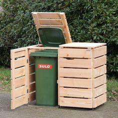2er Mülltonnenbox Holz, Douglasie Natur