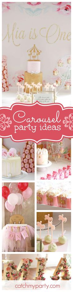 You won't want to miss this beautiful vintage floral carousel 1st birthday party. The cakes are all stunning! See more party ideas and share yours at CatchMyParty.com