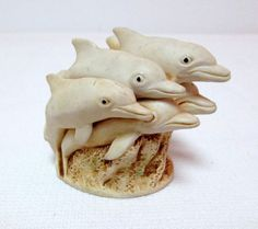Harmony Kingdom Sunday Swim Dolphins Treasure Jest Trinket Box Figurine Vintage #BoxFigurine