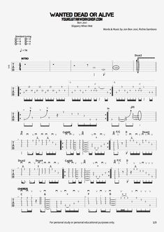 Free guitar tablature for the song Wanted Dead Or Alive from the album slippery when wet by Bon Jovi. Guitar Chords For Songs, Acoustic Guitar Lessons, Music Guitar, Guitar Solo, Guitar Art, Guitar Tabs For Beginners, Learn Guitar Beginner, Guitar Chords Beginner, Guitar Chords And Scales