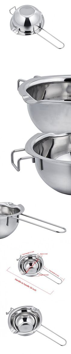 TeamFar 18/8 Stainless Steel Universal Melting Pot, Double Boiler Insert, Double Spouts, Heat-resistant Handle, Flat Bottom, Melted Butter Chocolate cheese caramel (2 Cup=1/2 Qt.=480 ml)
