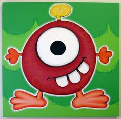 One eyed monster Like the Complementary color  in the background.