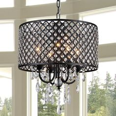 The perforated black metal drum shade on this Warehouse of Tiffany Monet Chandelier is studded with crystal gems. This chandelier also boasts. 3 Light Chandelier, Globe Chandelier, Chandelier Shades, Chandelier Ideas, Kitchen Chandelier, Bronze Chandelier, Crystal Chandeliers, Rustic Chandelier, Monet