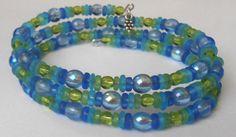 New jewelry - unique, handmade bead memory wire bracelet! Blue Fade to Green Memory Wire Bracelet by VineDesignBeads on Etsy, $14.00
