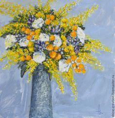 Картины цветов ручной работы. Ярмарка Мастеров - ручная работа. Купить Много жёлтого. Handmade. Желтый, васильковый, цветы, экспрессионизм