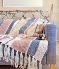 Crochet Herringbone Half Mixed Stripes Throw | Daisy Farm Crafts Crochet Patterns For Beginners, Afghan Crochet Patterns, Crochet Stitches, Crochet Afghans, Chevron Blanket, Striped Crochet Blanket, Crochet Box, Crochet Ideas, Free Crochet