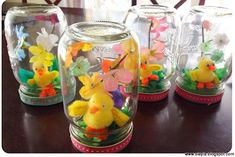 Imagination Station Easter dioramas in mason jars via The Crafty Crow